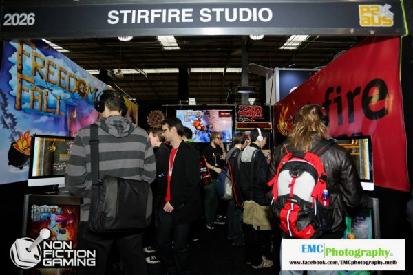 The Stirfire Studios booth was pretty rad. Notice the buzzsaw and death counter?