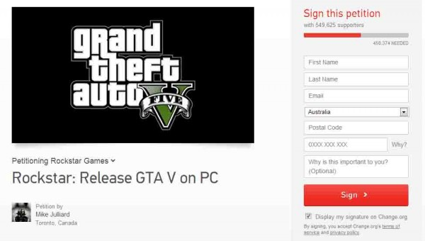 GTA PC Release Petition