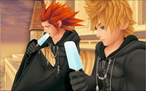 Source: http://img2.wikia.nocookie.net/__cb20111011003046/kingdomhearts/images/6/60/Axel_and_Roxas_eating_ice_cream.png