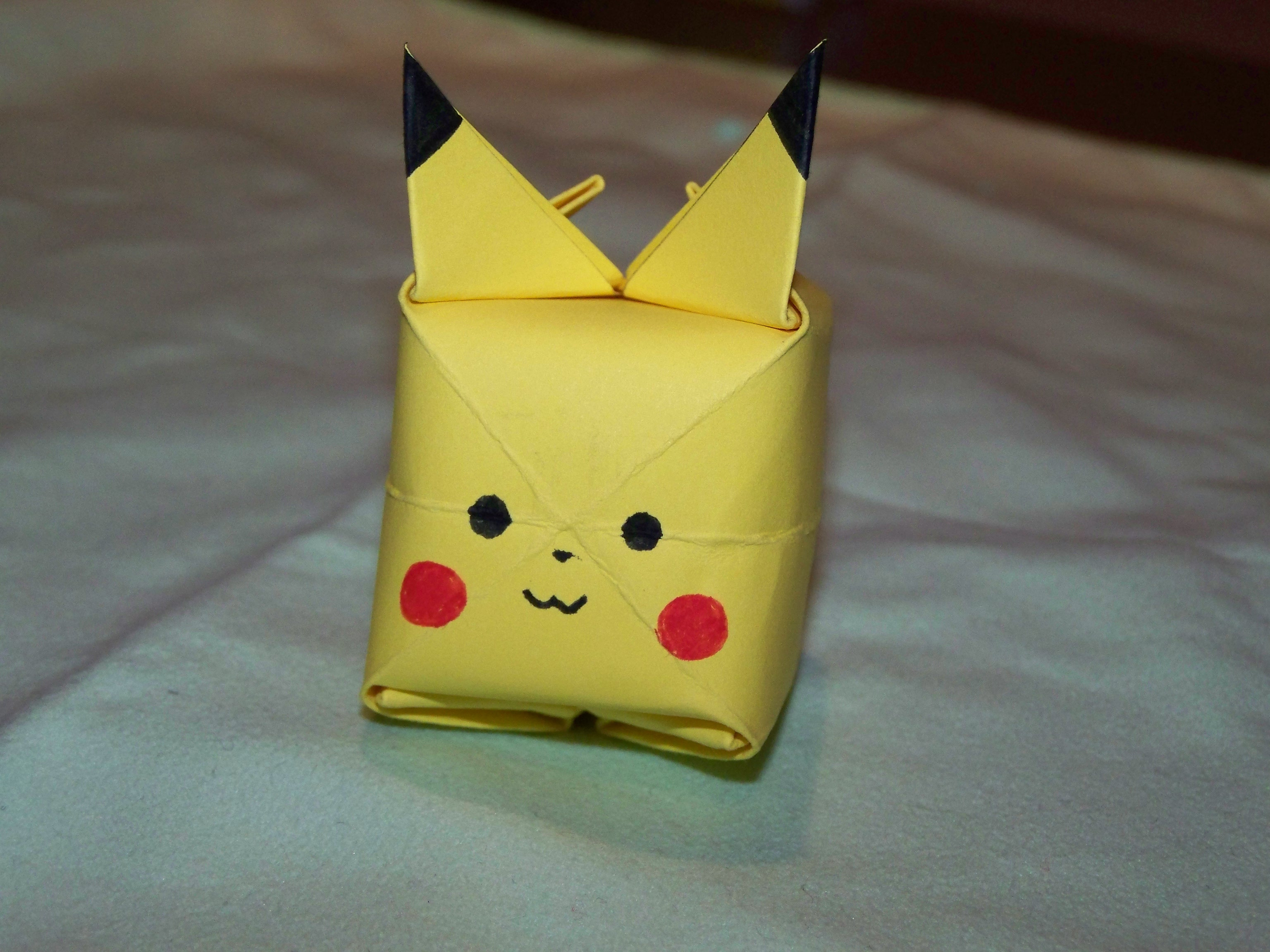 how to create an origami pikachu from a postit note