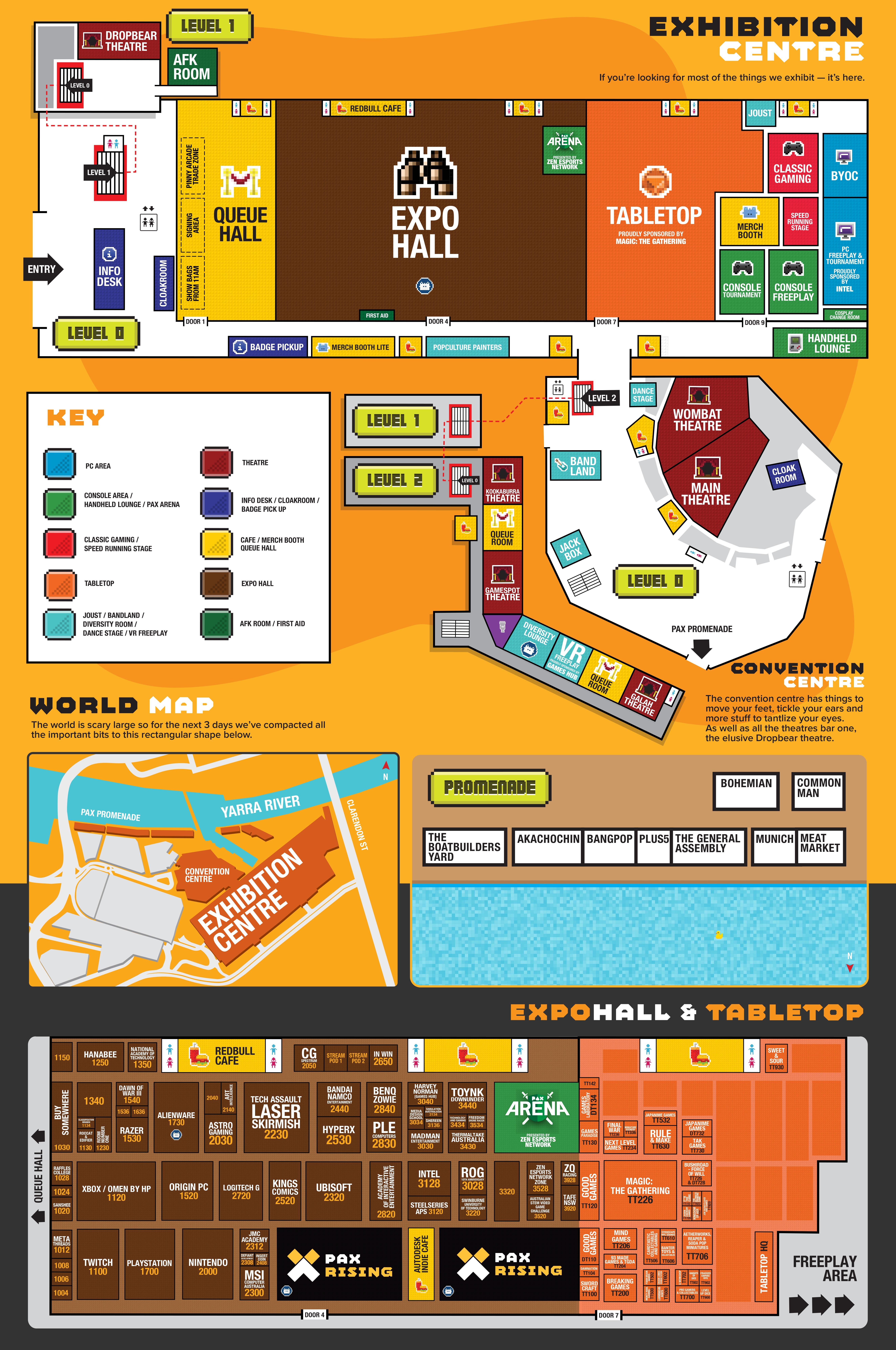 PAX Australia 2016 Map of Expo Hall and Theatre Layout – Australia Full Map