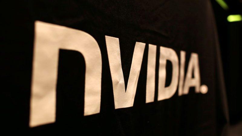 The logo of technology company Nvidia is seen at its headquarters in Santa Clara