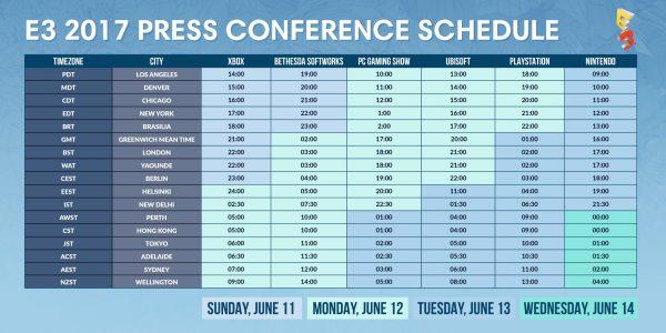 e3 2017 Schedule