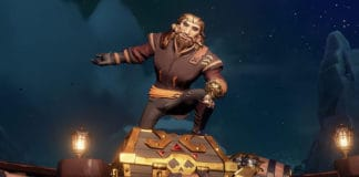 Pirate on a gold treasure chest